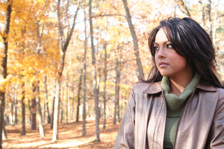 Sexy Woman In Fall fashion Outdoors photo