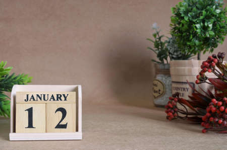 January 12, Vintage natural calendar. Stock Photo