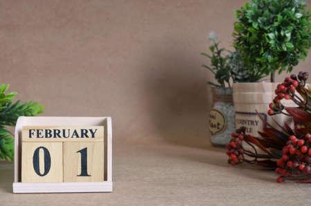 February 1, Vintage natural calendar.