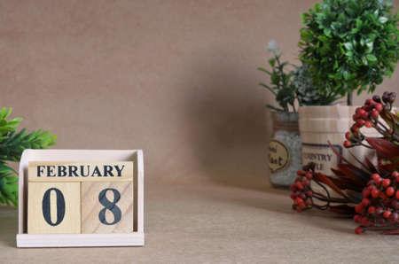 February 8, Vintage natural calendar. Stock Photo