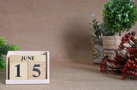 June 15, Vintage natural calendar. Stock Photo