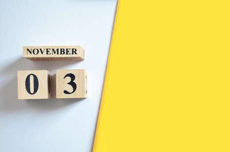 November 3, Empty white - Yellow background.