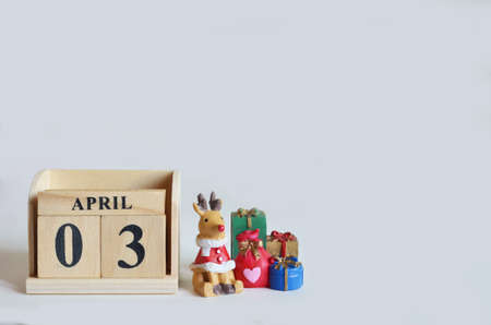 April 3, Christmas, Birthday with number cube design for background. Zdjęcie Seryjne