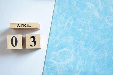 April 3, Empty white-blue background.