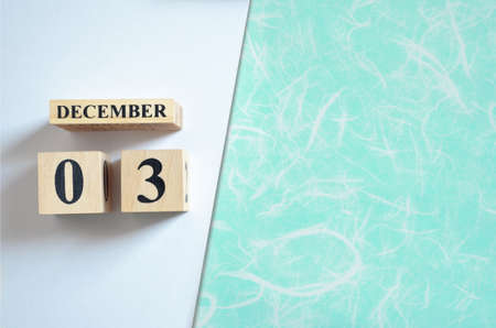 December 3, Empty white - Green background.