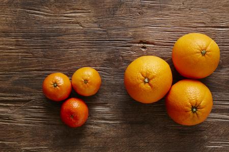 southsea: three mandarines and three oranges Stock Photo