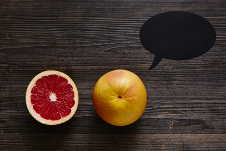 southsea: two grapefruits and a speech bubble.jpg Stock Photo