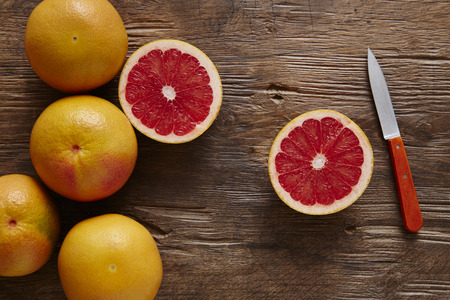 southsea: organic grapefruit sliced ??orange with knife
