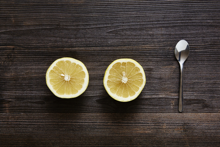 southsea: two halves of citrus fruit with spoon