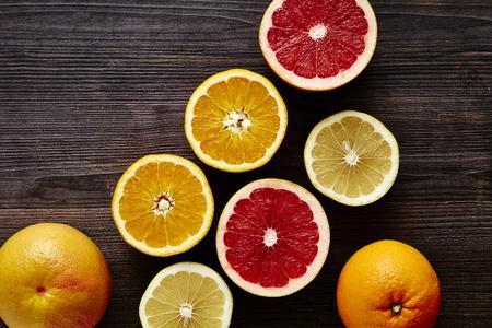 variety of sliced ??organic citrus fruits