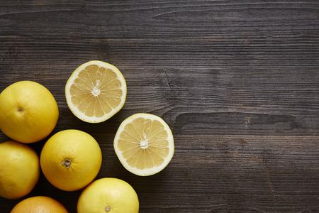oranigc citrus fruits sliced ??open corner Stock Photo