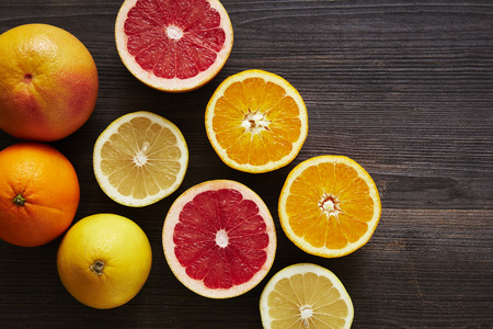 mixture of sliced ??citrus fruits Stock Photo