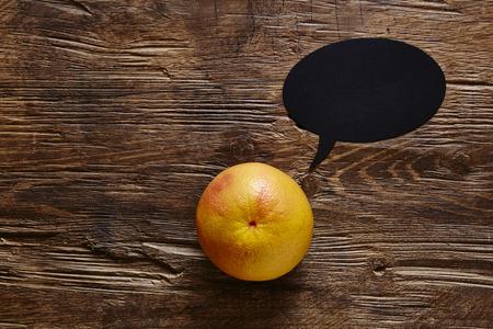 southsea: single organic grapefruit with speech bubble Stock Photo