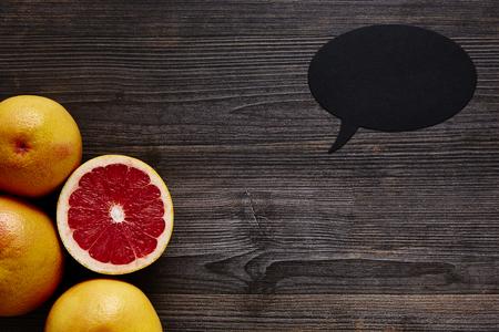 southsea: organic grapefruits and speech bubble Stock Photo