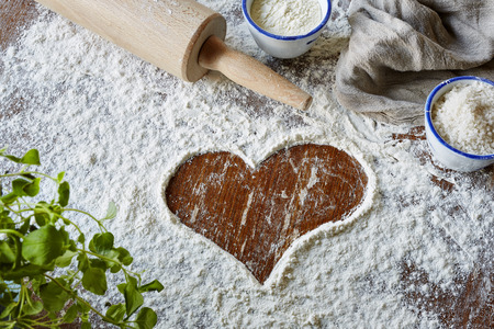 heart brushed in flour scene