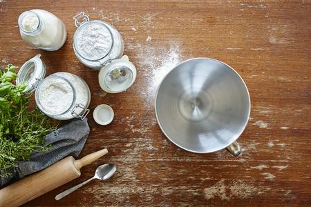 baking in atmospheric kitchen scene flour and bowl Stock Photo