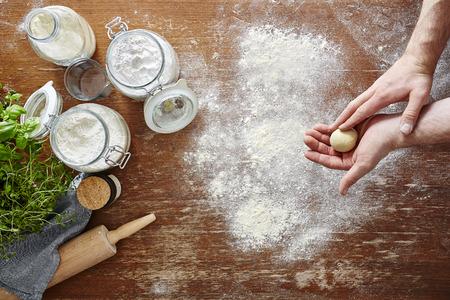 homemade pasta making hands preparing the dough
