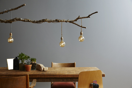modern interior wooden furniture and design lamp branch and bulbs Stock Photo