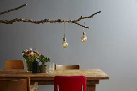 Table Decoration Wood And Flowers Design Lamp Photo