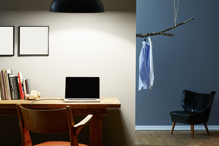 hipster apartment home office and fitting room at night Stock Photo