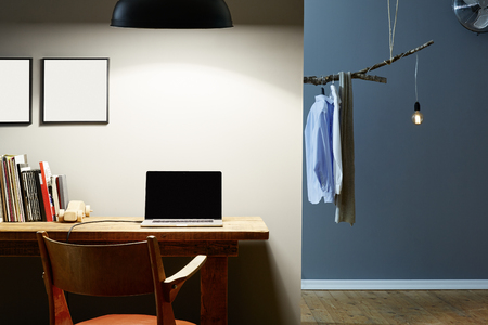 atmospheric: home office and dressing room modern interior partitioning Stock Photo