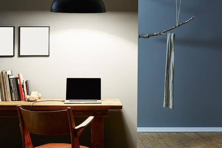 homeoffice: urban interior design at night office and creative wardrobe
