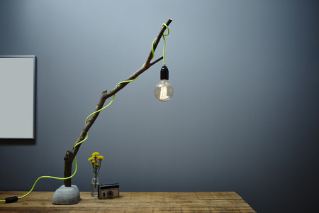 creative branch lamp illumination with vintage bulb urban organic design