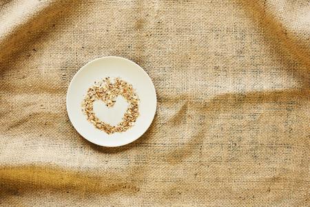bread crumbs in heart shape on plate