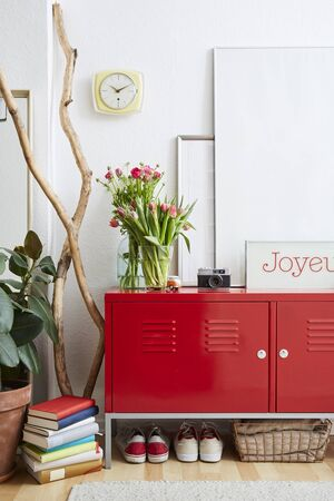 cosy modern interior vivid decoration red metal locker in modern living room