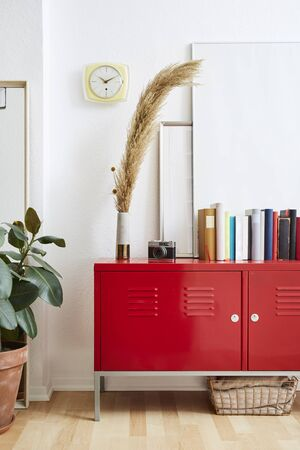 modern decoraion books picture frames on red metal cabinet