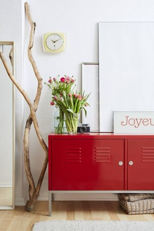 stylish interior design red metal locker in center of hipster room Stock Photo