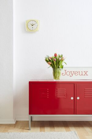 happy interior minimalist design locker with french sign and flowers Stock Photo