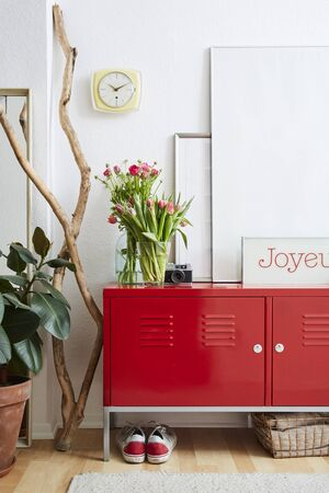 red metal locker in vivid lifestyle scenario Stock Photo