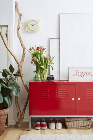 beautiful interior red locker and vivid decoration design Stock Photo