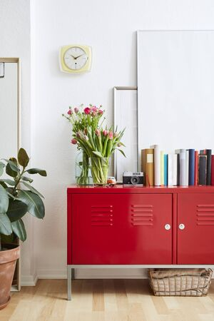 red locker and decoration happy interior vivid scenery spring atmosphere
