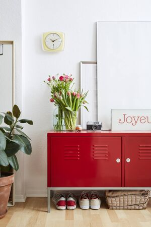 vivid interior scene colorful flowers and red locker in apartment atmosphere