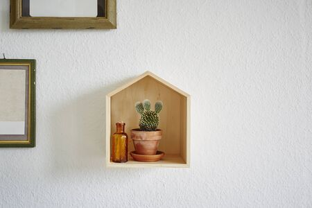 wooden house with cactus in it modern decoration Stock Photo