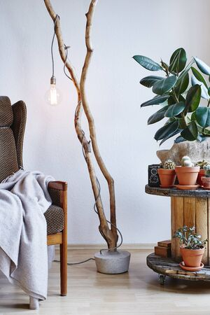 creative interior upcycling design cable drum table branch lamp