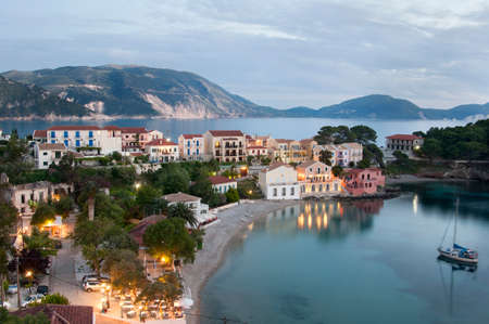Assos village, Kefalonia island with sea view in both sides. photo
