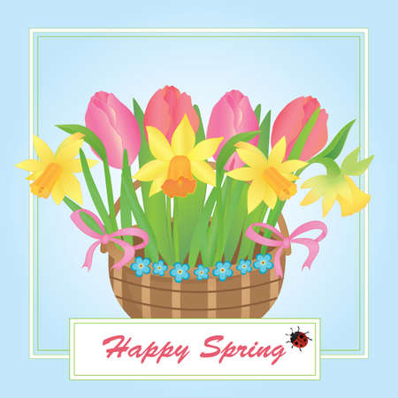 illustration of a basket with spring flowers