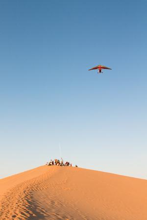 visitors: Visitors standing on desert