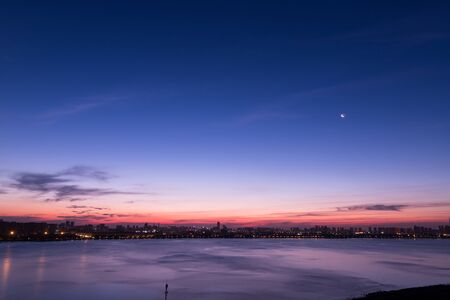 Early morning with crescent moon scenery