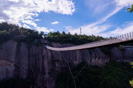 Suspension Bridge in Shenxianju Scenic Area, Xianju, Zhejiang, China