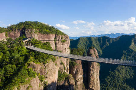 Aerial view of suspension bridge in Shenxianju Scenic Area, Xianju, China Publikacyjne