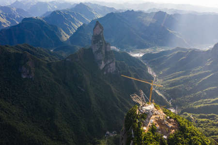 Aerial view of Guanyin Mountain in Shenxianju Scenic Area, Xianju, Zhejiang, China Publikacyjne