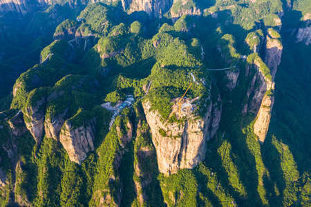 Aerial view of Shenxianju scenic area, Xianju, Zhejiang, China