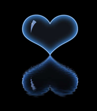 Bright neon heart. Reflection in the water. photo