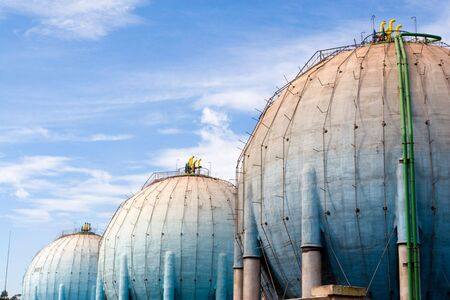 spherical fuel deposits in a refinery