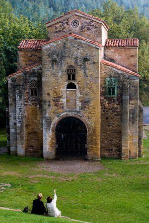 declared: PreRomanesque chiesa di San Miguel de Lillo (IX secolo) Asturie a Oviedo, Spagna. Dichiarata patrimonio culturale dell'umanit� dall'UNESCO nel 1985  Archivio Fotografico