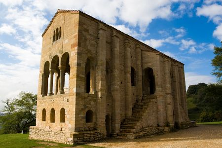 humanidad: PreRomanesque Iglesia de Santa Mar�a del Naranco (siglo IX) en Oviedo, Asturias, Espa�a. Declarado patrimonio cultural de la humanidad por la UNESCO en 1985